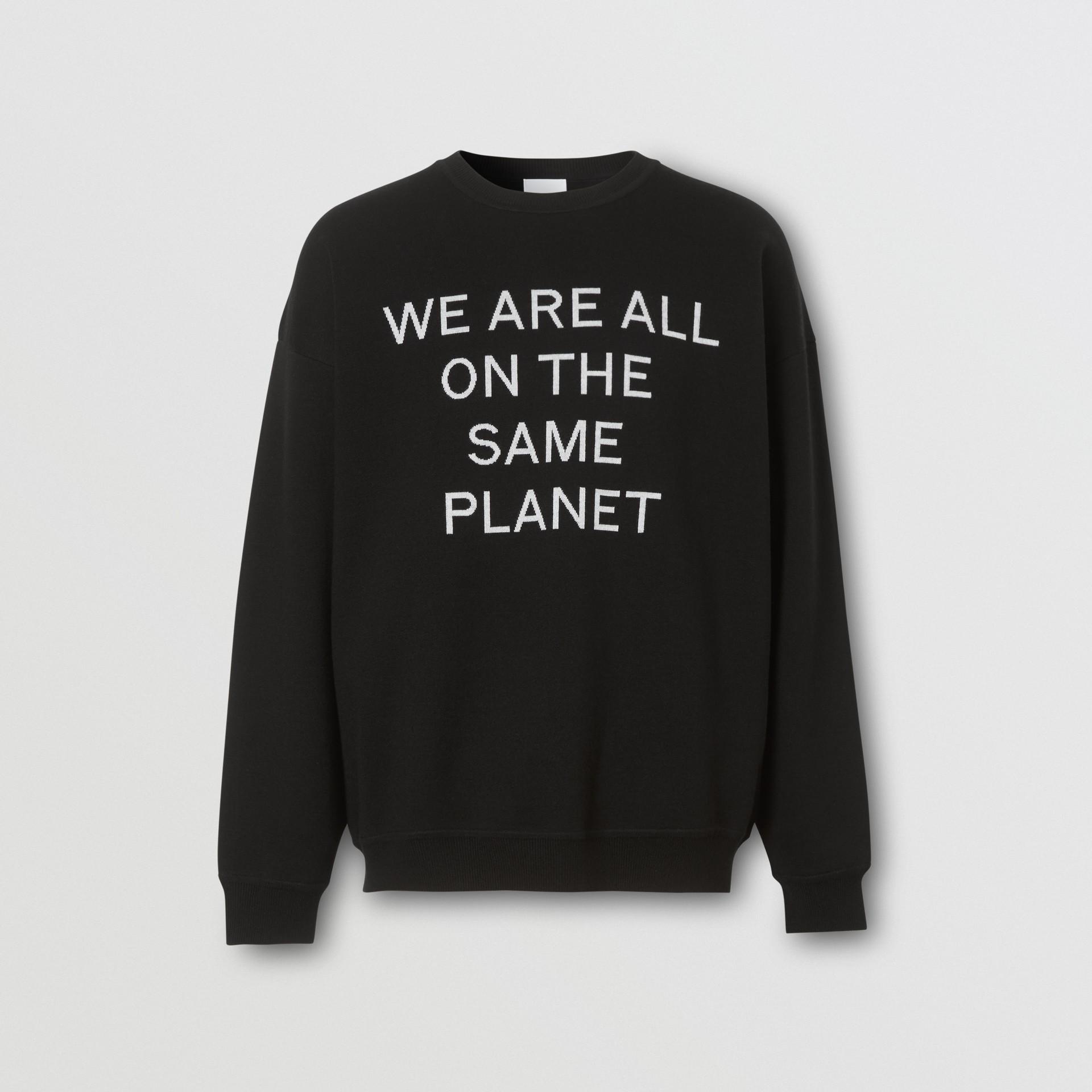 Slogan Intarsia Merino Wool Blend Sweater in Black - Men | Burberry United States - gallery image 3