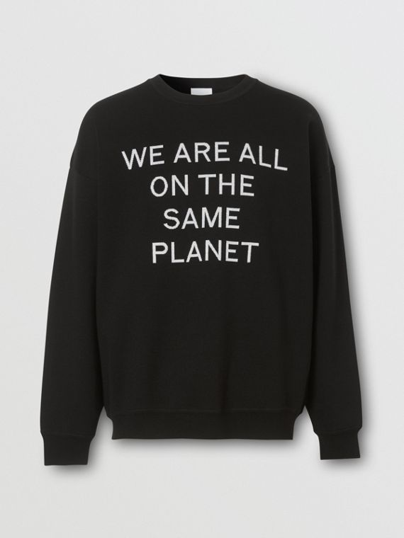 Slogan Intarsia Merino Wool Blend Sweater in Black