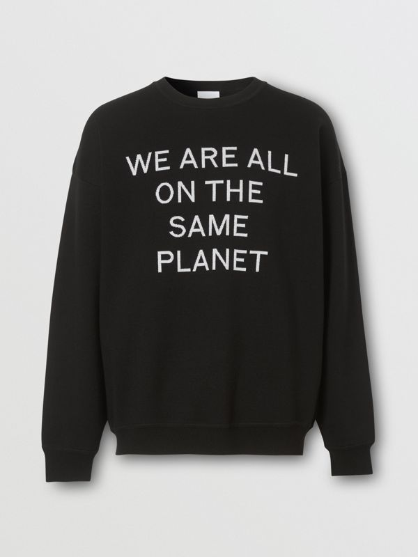 Slogan Intarsia Merino Wool Blend Sweater in Black - Men | Burberry - cell image 3