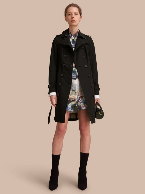 Trench coat Sandringham – Trench coat Heritage largo (Negro) - Mujer | Burberry