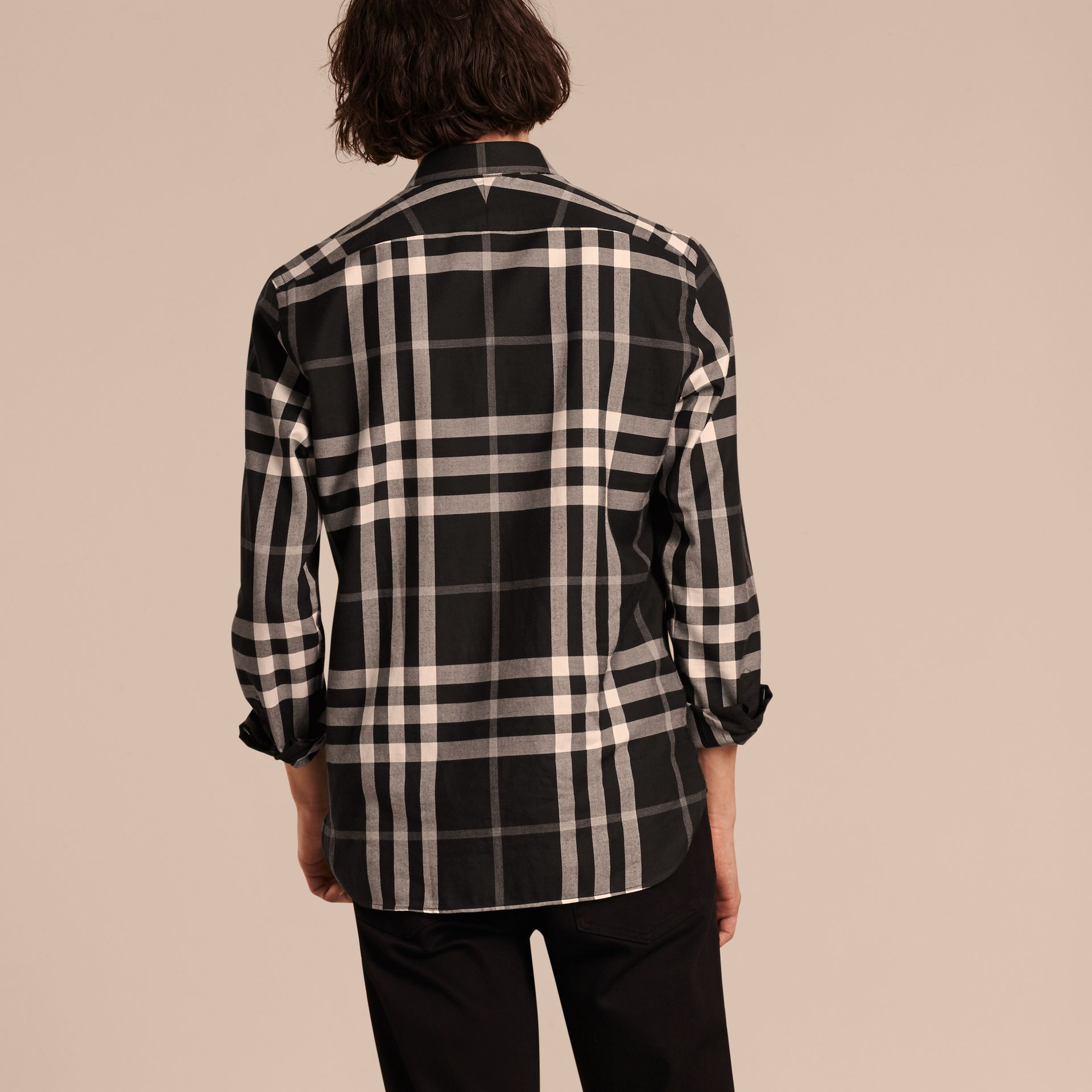 Black Check Cotton Cashmere Flannel Shirt Black - gallery image 3