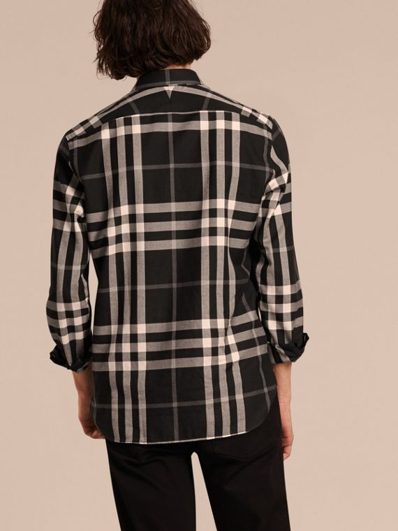 Check Cotton Cashmere Flannel Shirt in Black - cell image 2