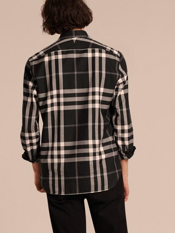 Negro Camisa a cuadros en franela de algodón y cachemir Negro - cell image 2