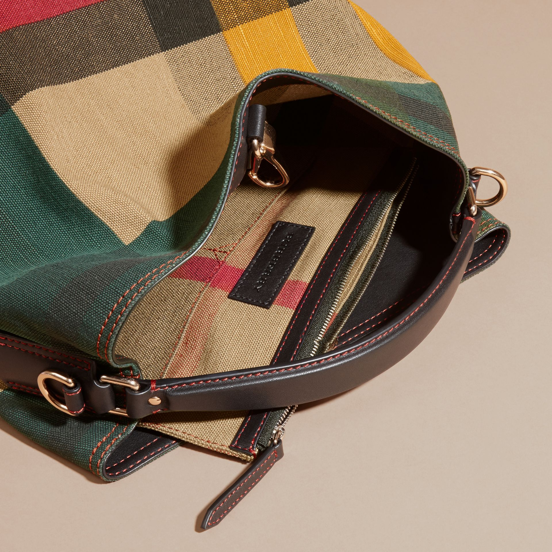 Multicolour The Medium Ashby in Printed Canvas Check and Leather - gallery image 5