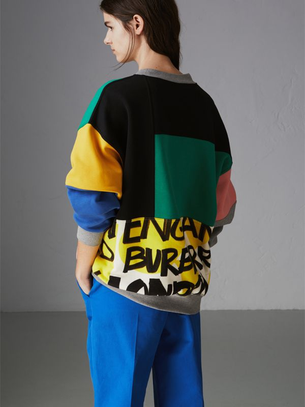 Graffiti Print Panel Cotton Blend Sweatshirt in Multicolour - Women | Burberry Australia - cell image 2