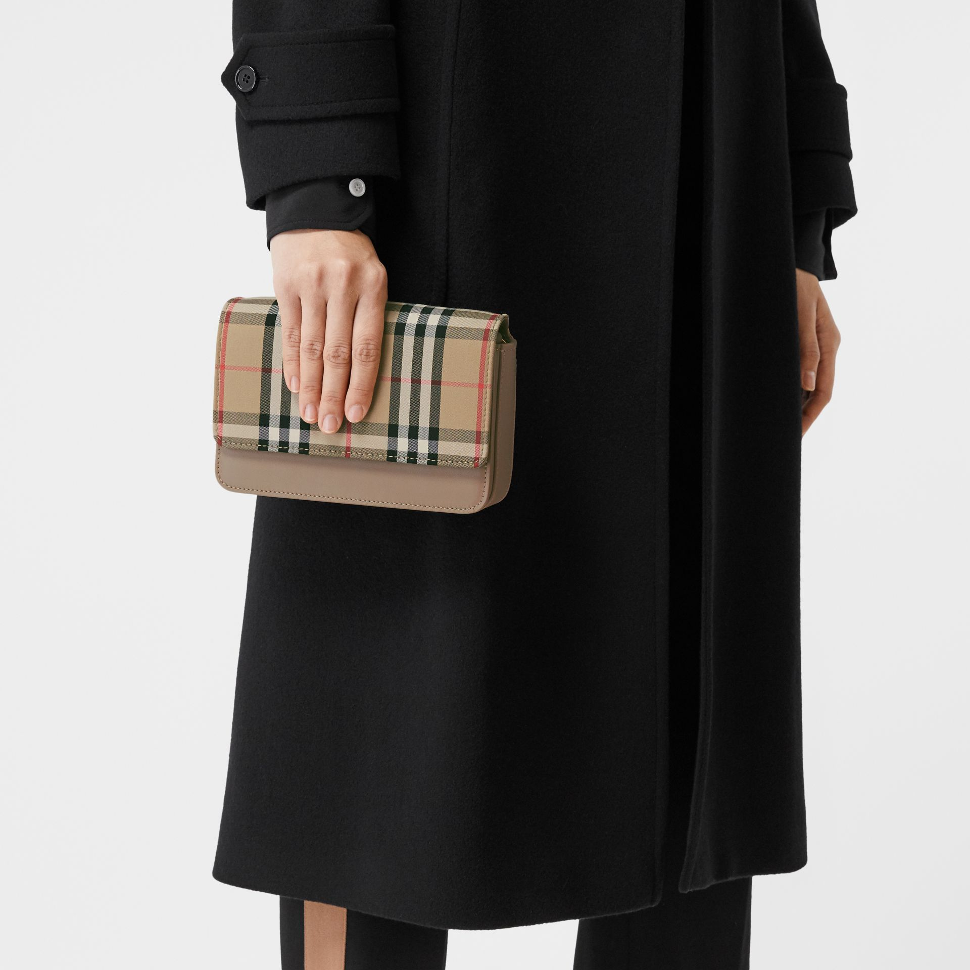 Vintage Check Canvas and Leather Bag in Honey - Women | Burberry - gallery image 8