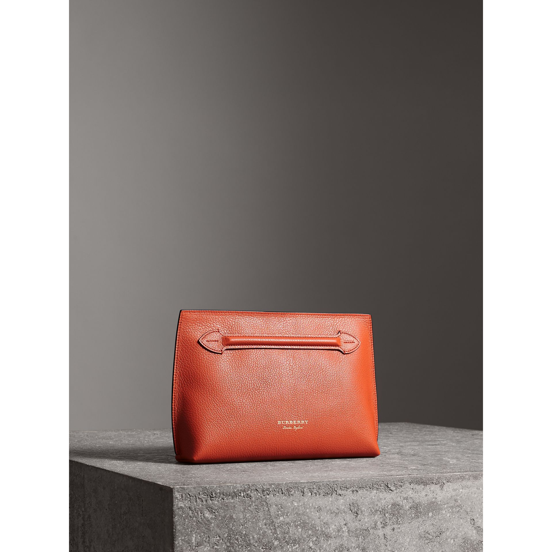 Grainy Leather Wristlet Clutch in Clementine - Women | Burberry Australia - gallery image 8