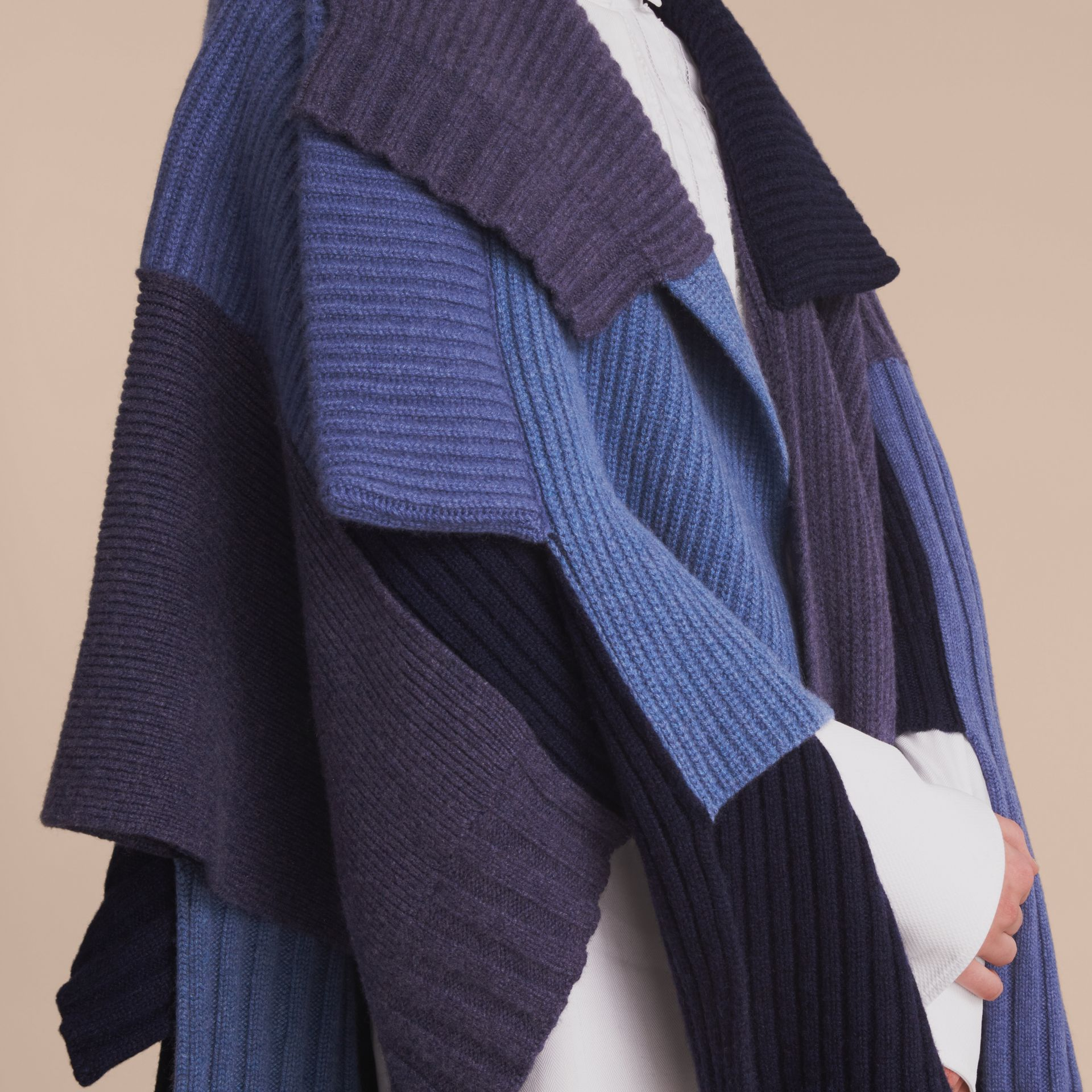 Wool Cashmere Patchwork Poncho in Carbon Blue - Women | Burberry - gallery image 5
