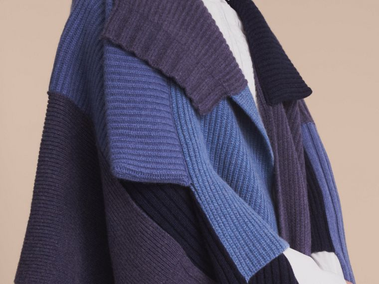 Wool Cashmere Patchwork Poncho in Carbon Blue - Women | Burberry - cell image 4