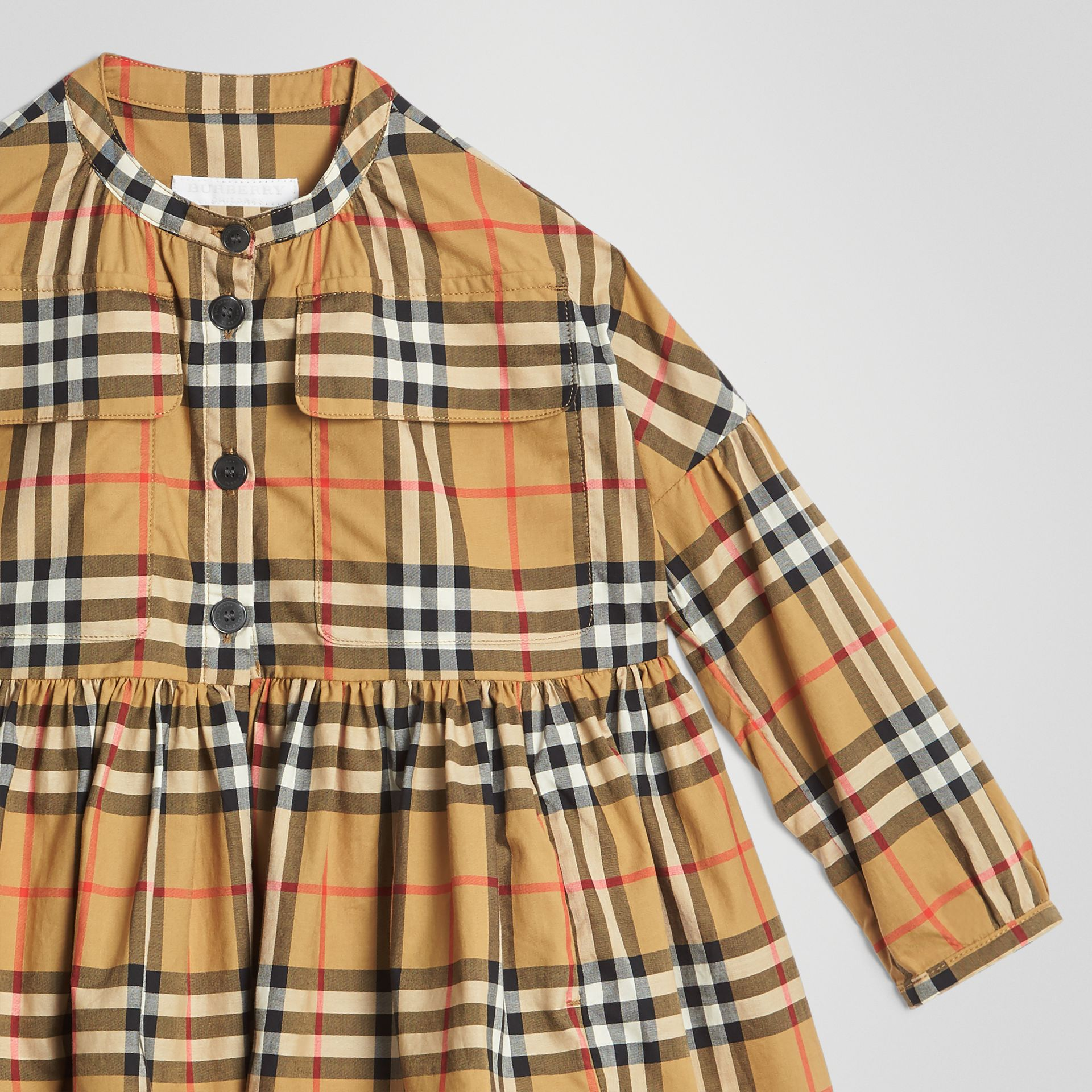 Gathered Sleeve Vintage Check Cotton Dress in Antique Yellow | Burberry - gallery image 4