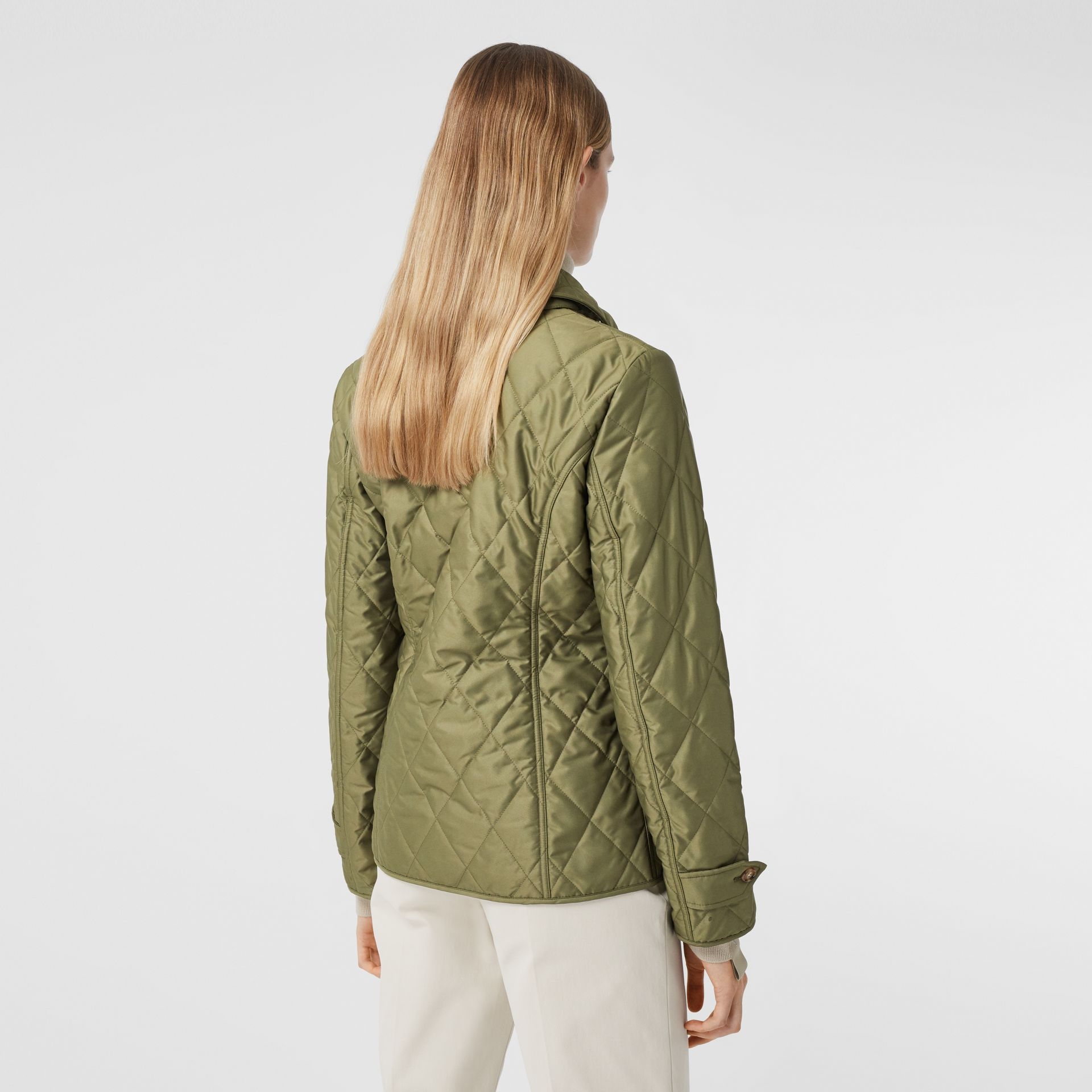 Diamond Quilted Thermoregulated Jacket in Olive Green - Women | Burberry - gallery image 2