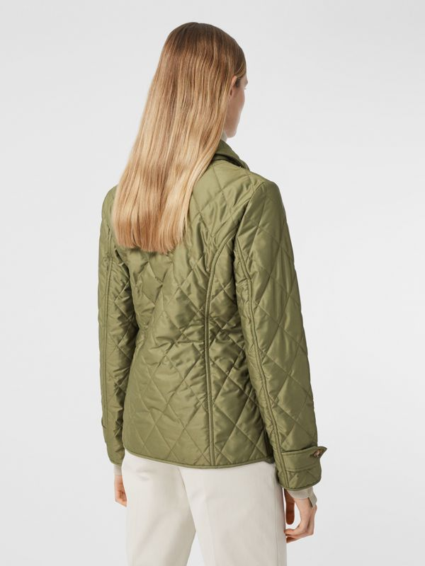 Diamond Quilted Thermoregulated Jacket in Olive Green - Women | Burberry - cell image 2