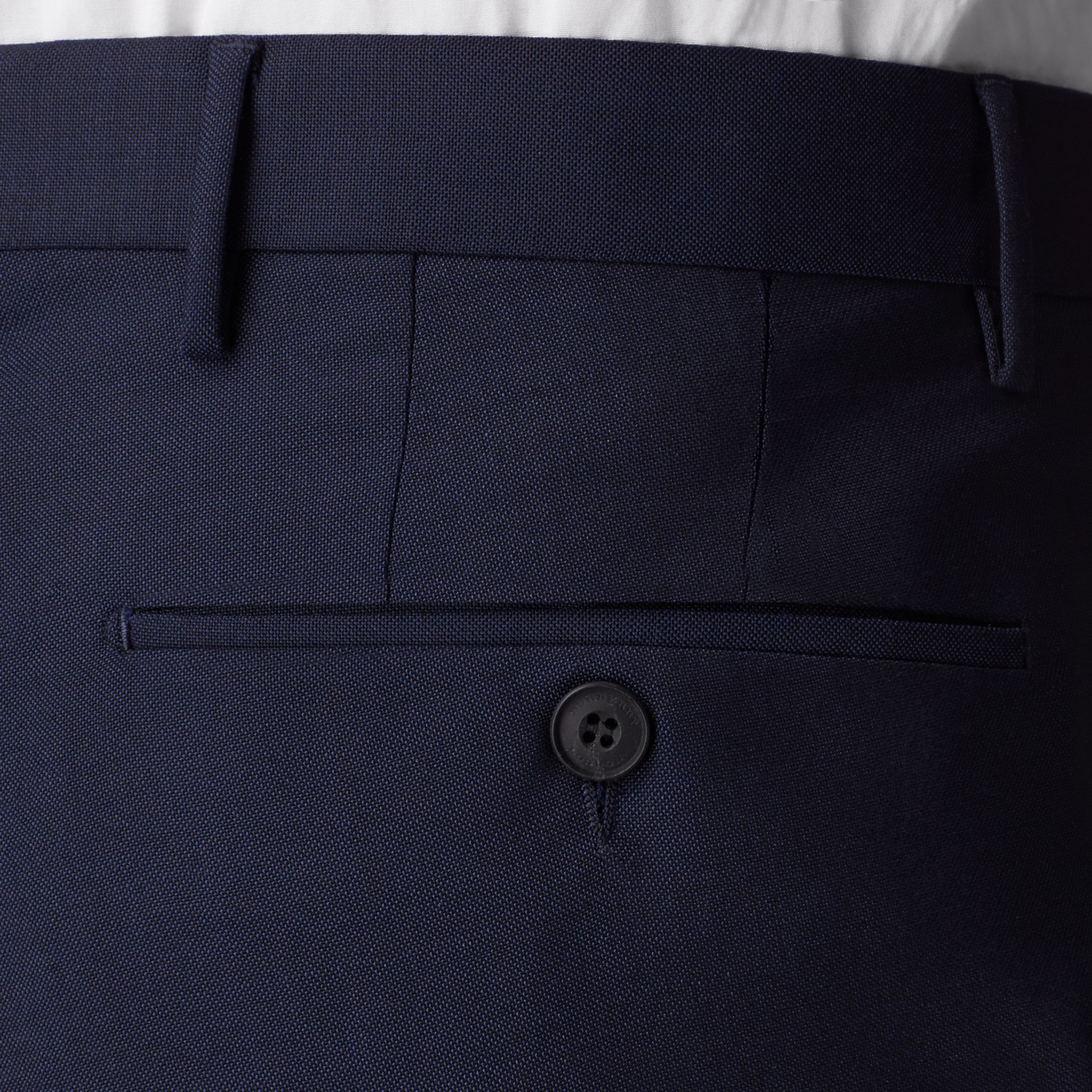 Slim Fit Wool Mohair Trousers in Royal Navy - Men | Burberry United States - gallery image 1