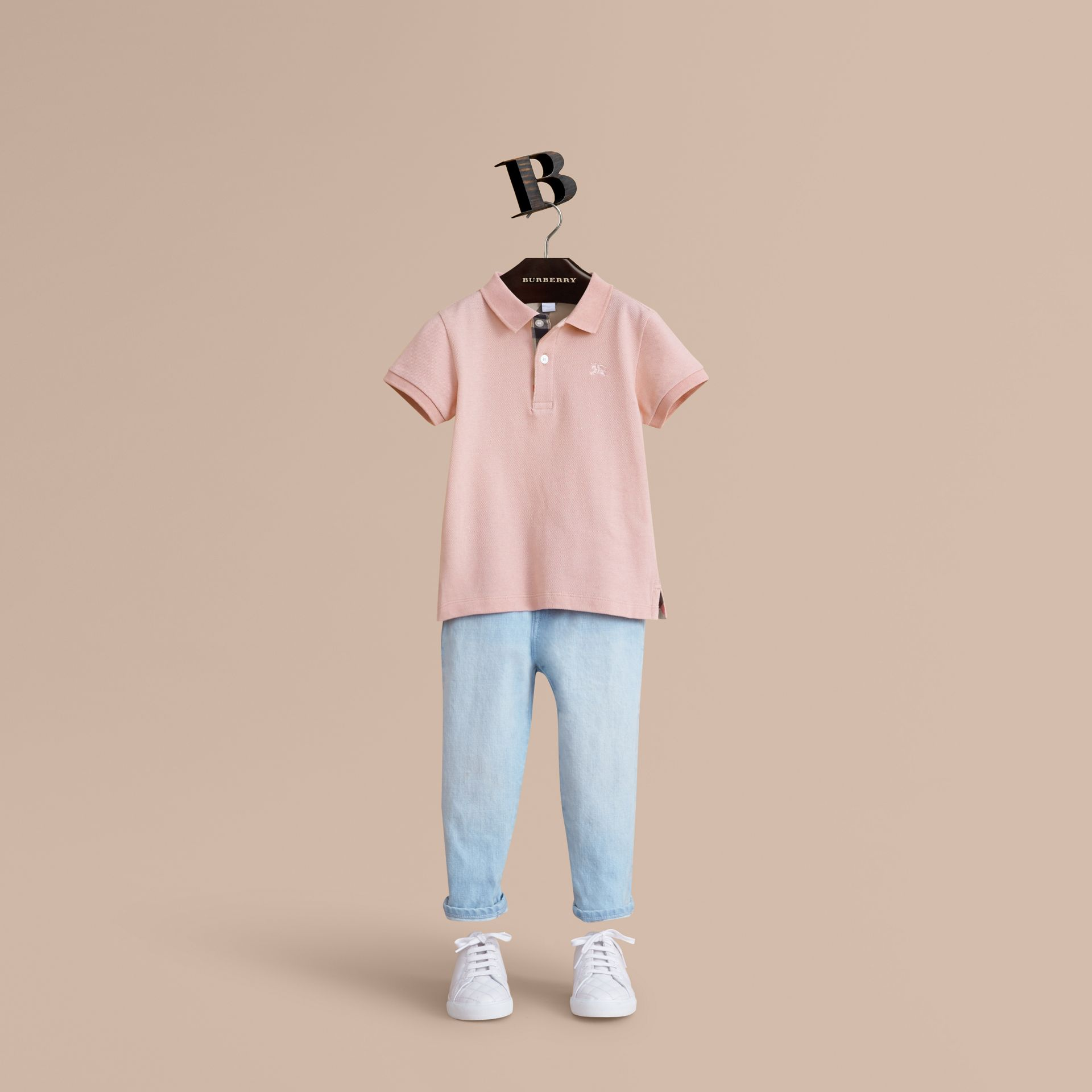Check Placket Polo Shirt in Chalk Pink - Boy | Burberry Canada - gallery image 1