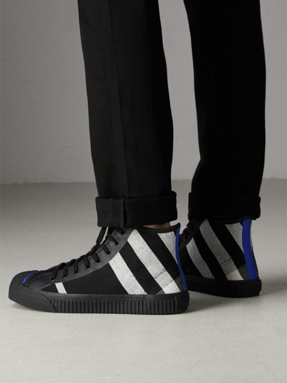 Canvas Check and Leather High-top Sneakers in Black - Men | Burberry Canada - cell image 2