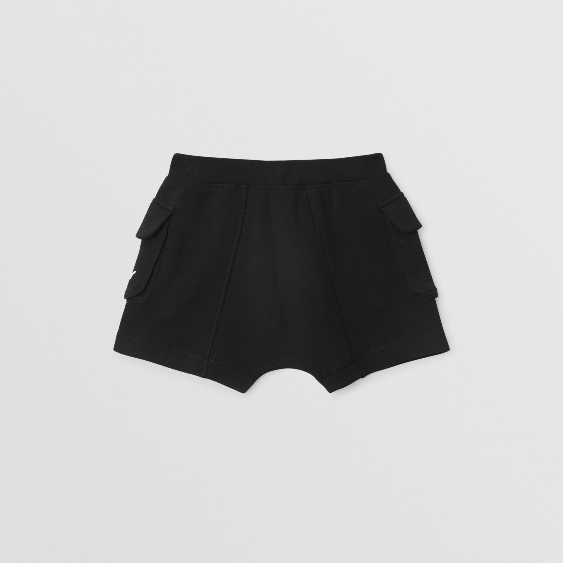 Logo Print Cotton Drawcord Shorts in Black | Burberry Singapore - gallery image 3