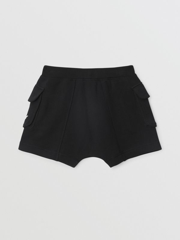 Logo Print Cotton Drawcord Shorts in Black | Burberry Singapore - cell image 3