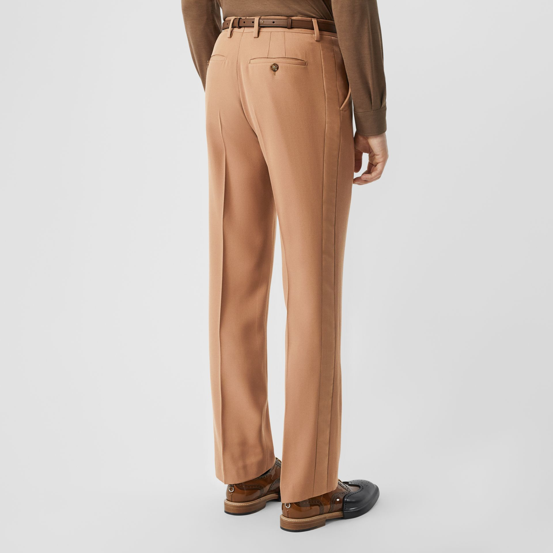 Stripe Detail Wool Tailored Trousers in Warm Camel - Men | Burberry - gallery image 2