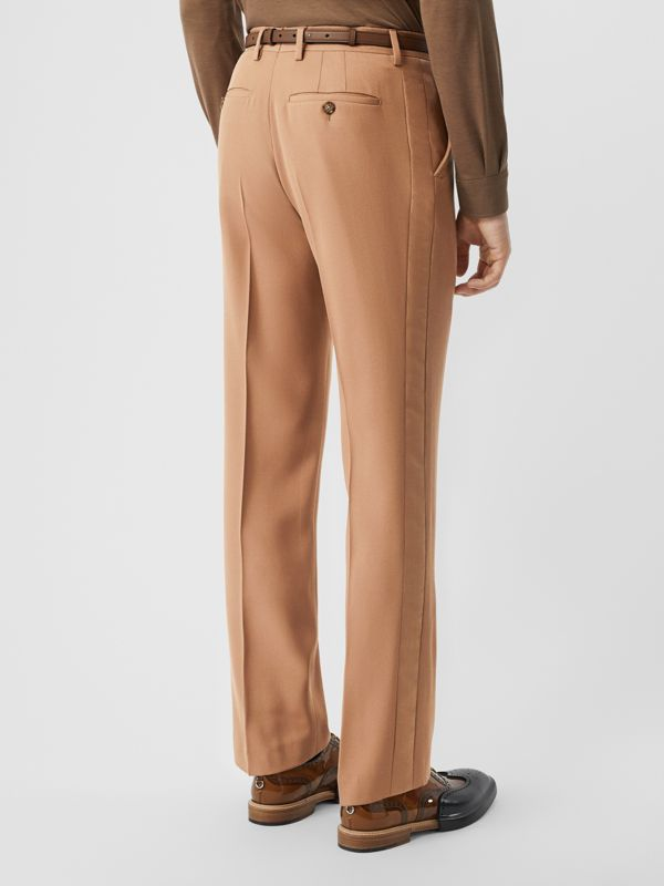 Stripe Detail Wool Tailored Trousers in Warm Camel - Men | Burberry - cell image 2