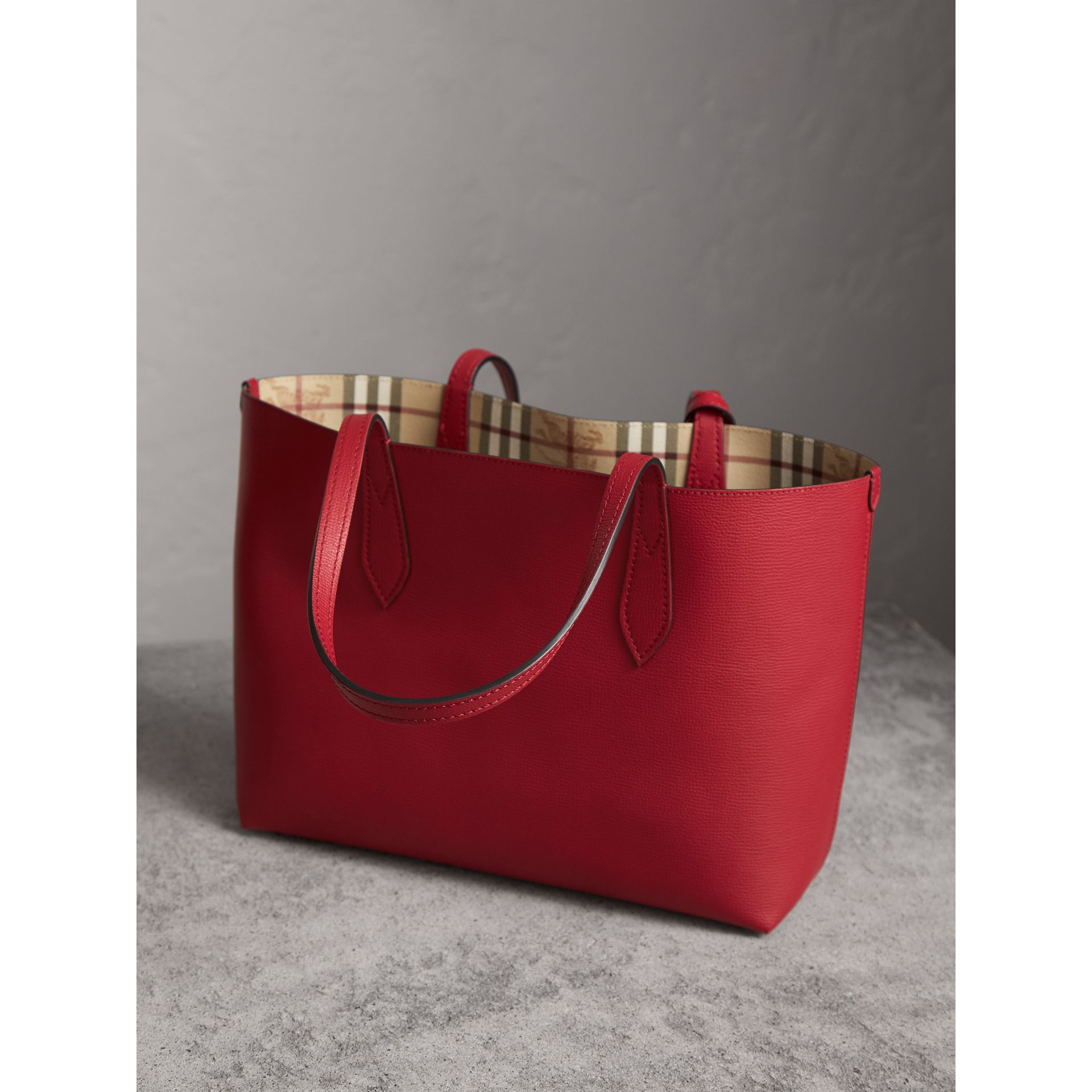 The Small Reversible Tote in Haymarket Check and Leather in Poppy Red - Women | Burberry Australia - gallery image 5