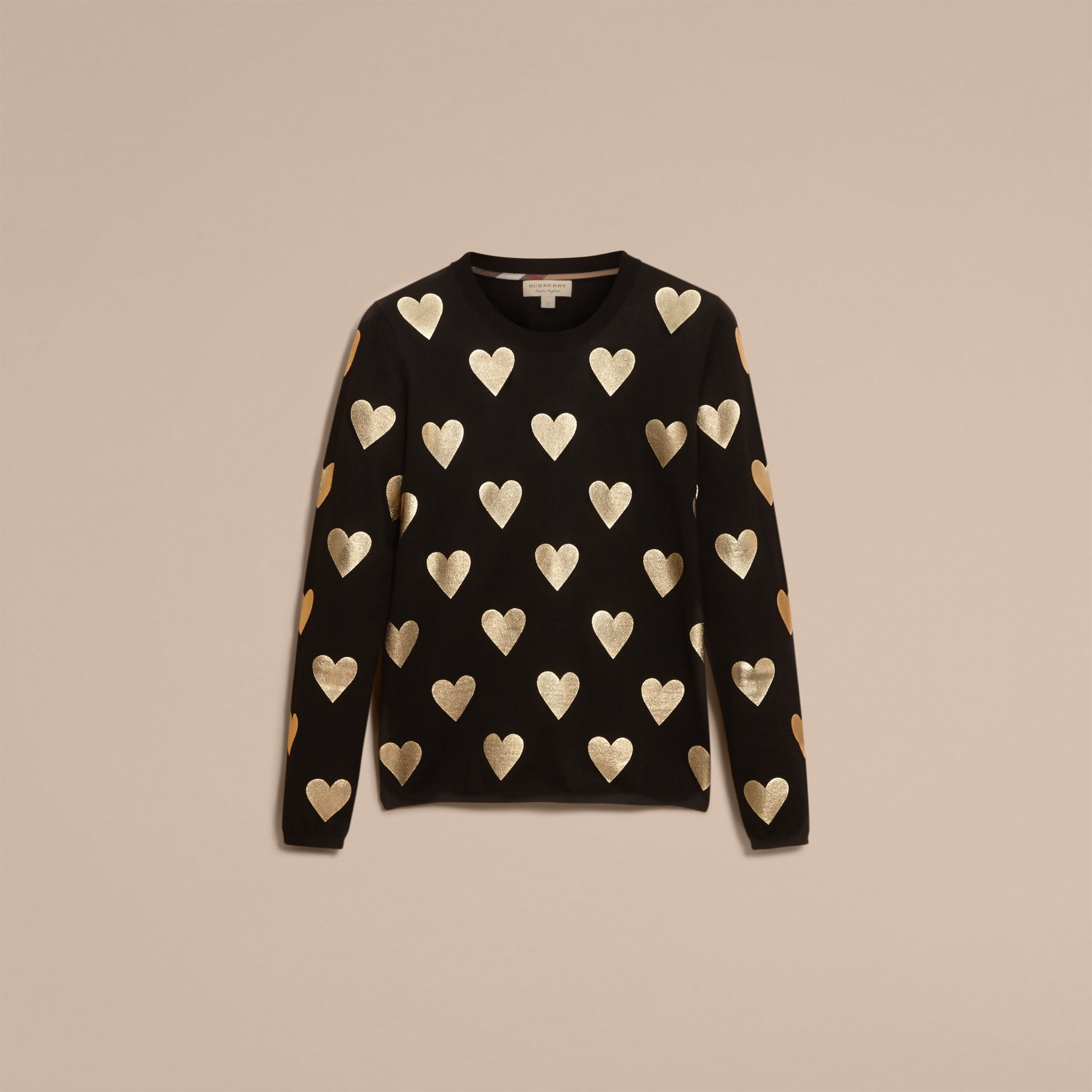 Black Crew Neck Heart Print Merino Wool Sweater Black - gallery image 4