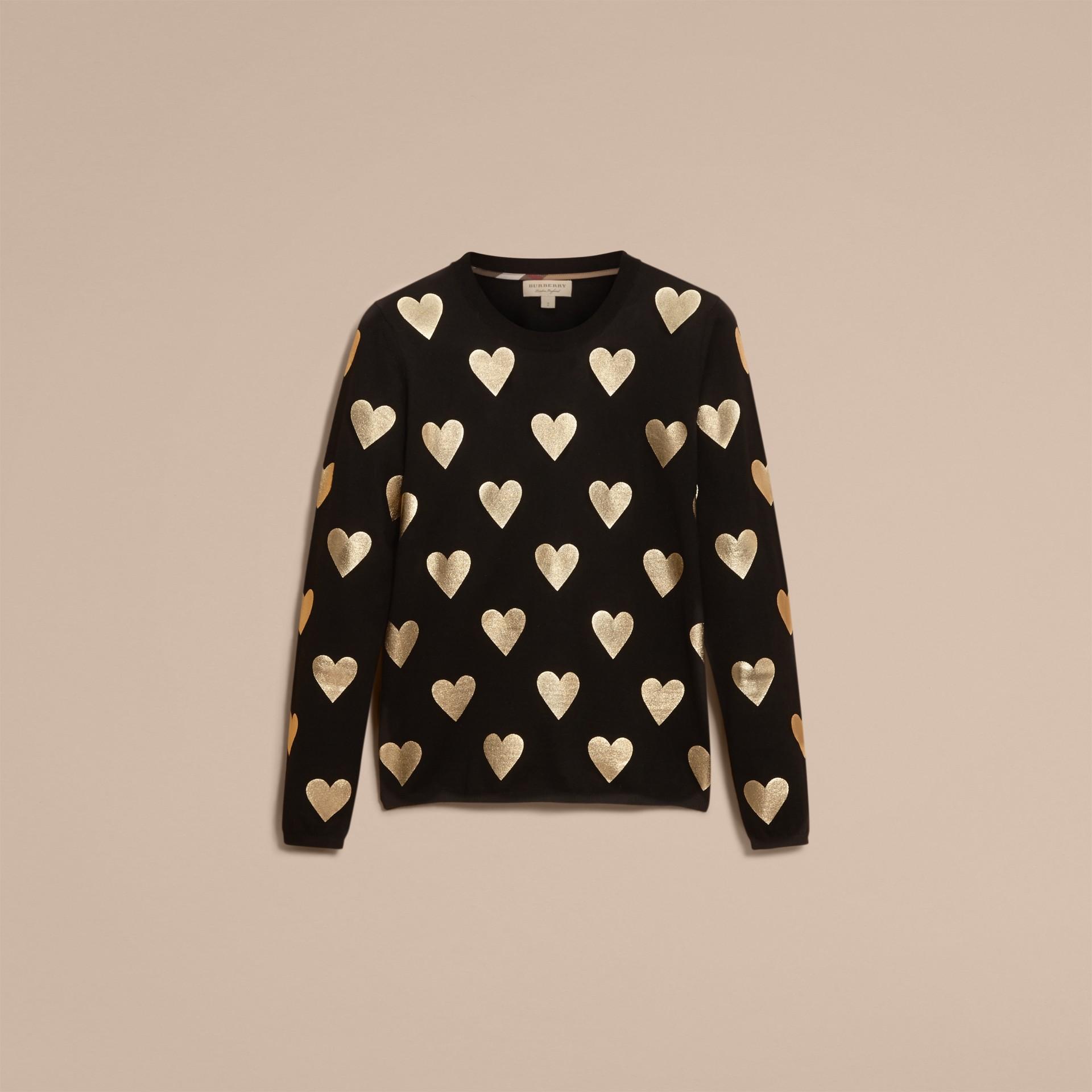 ブラック クルーネック ハートプリント メリノウールセーター ブラック - ギャラリーイメージ 4