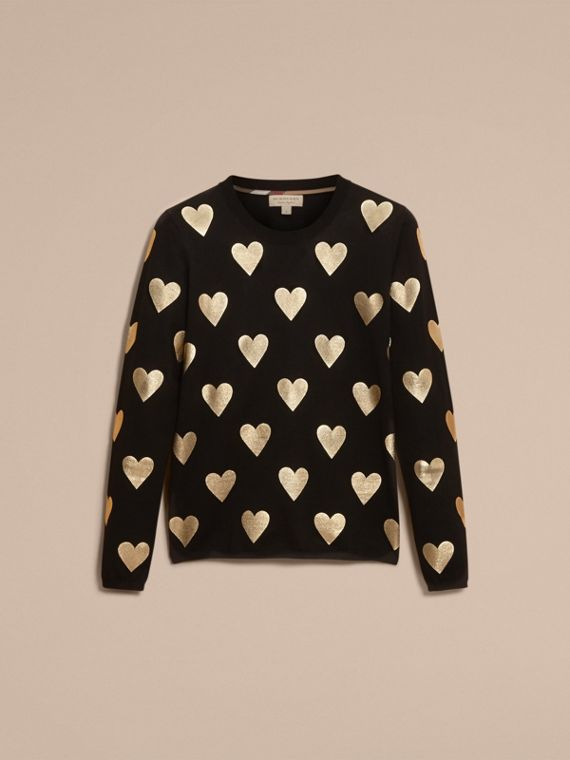 Crew Neck Heart Print Merino Wool Sweater in Black - cell image 3