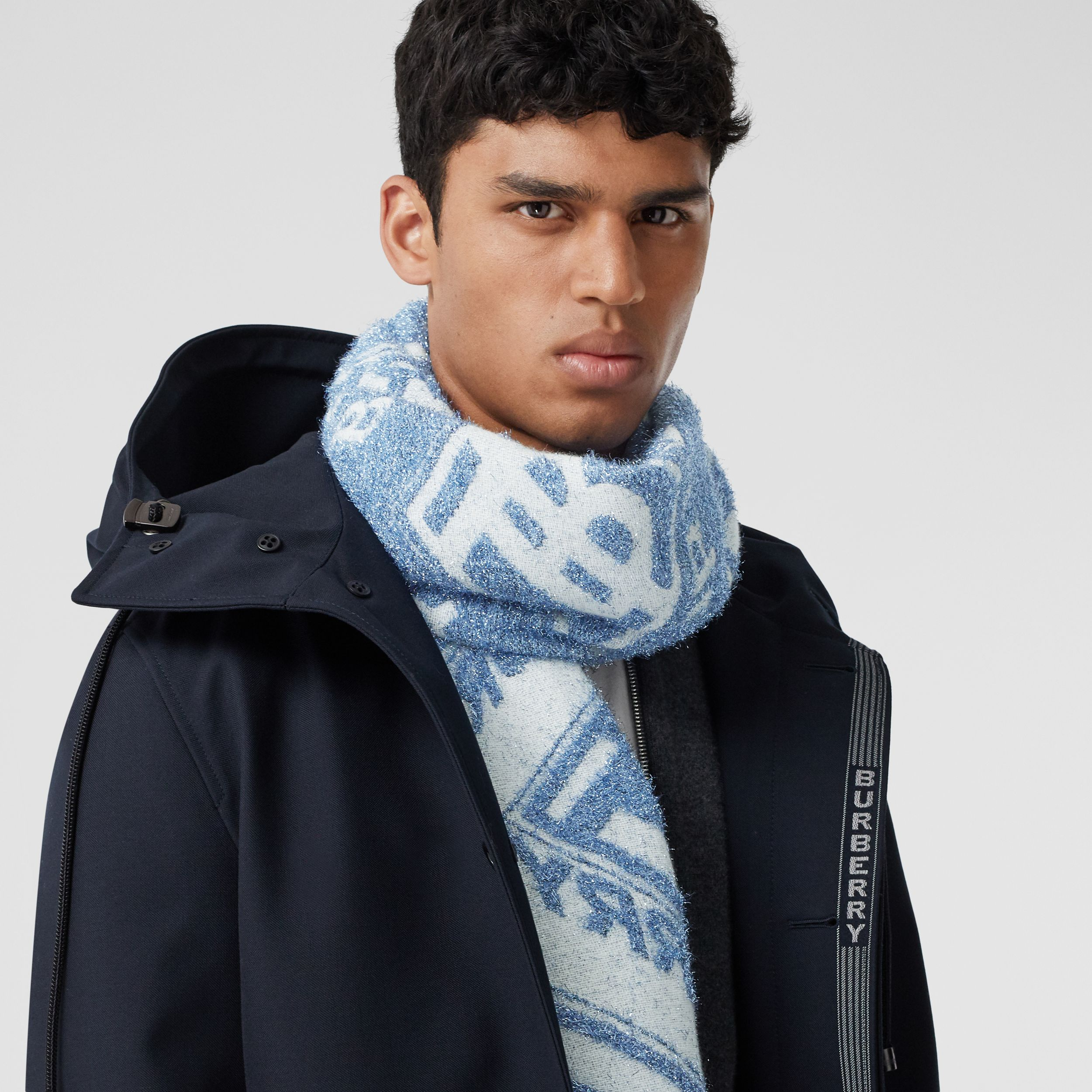 Metallic Monogram Wool Blend Scarf in Pale Blue | Burberry - 4