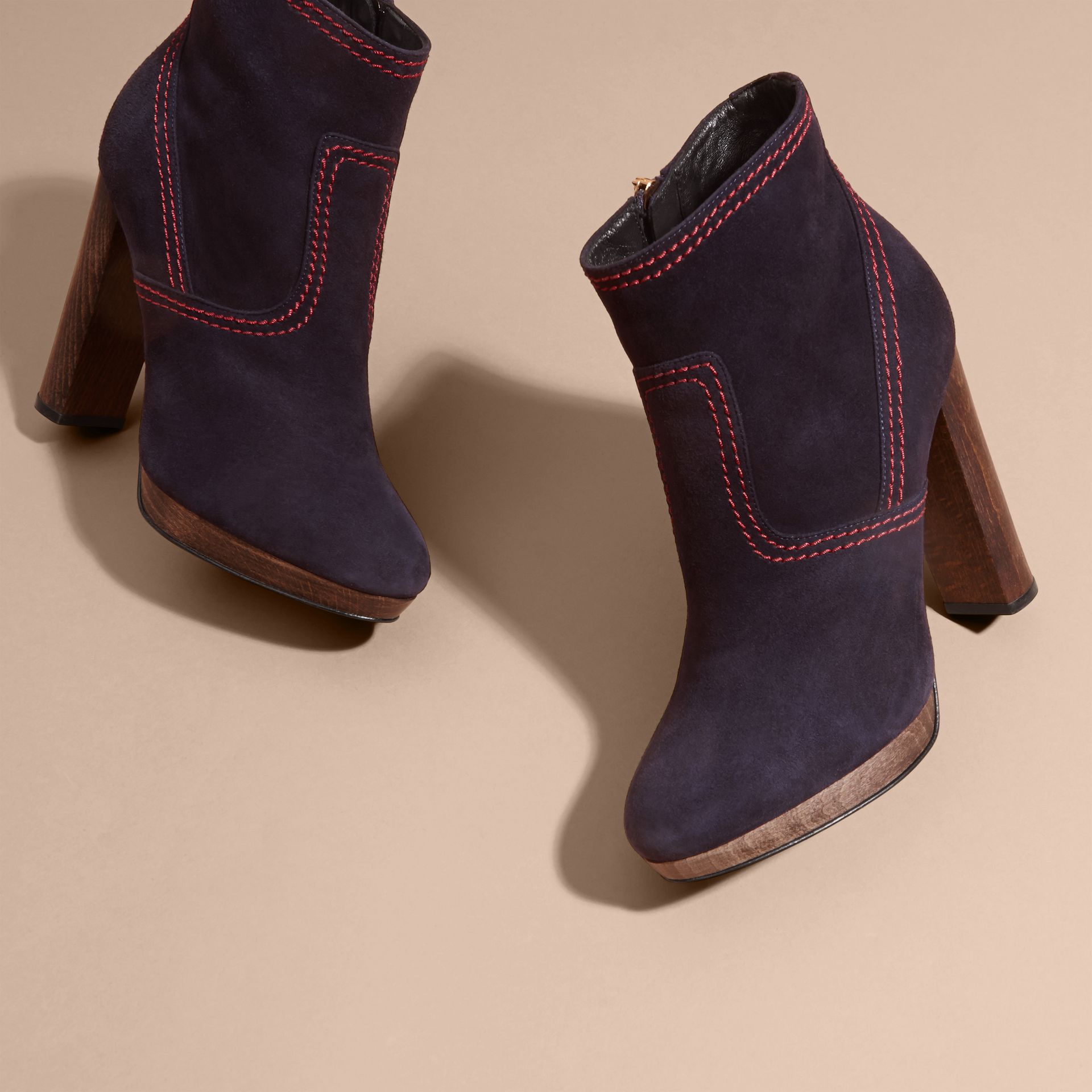 Suede Ankle Boots in Navy | Burberry United States - gallery image 2