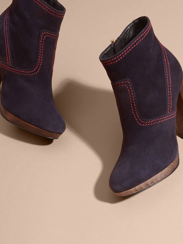 Suede Ankle Boots in Navy | Burberry United States - cell image 2