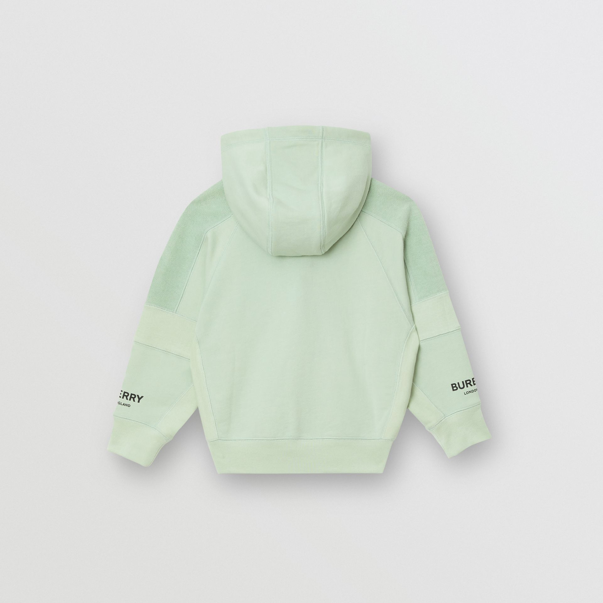 Logo Print Cotton Hooded Top in Pale Mint | Burberry - gallery image 3