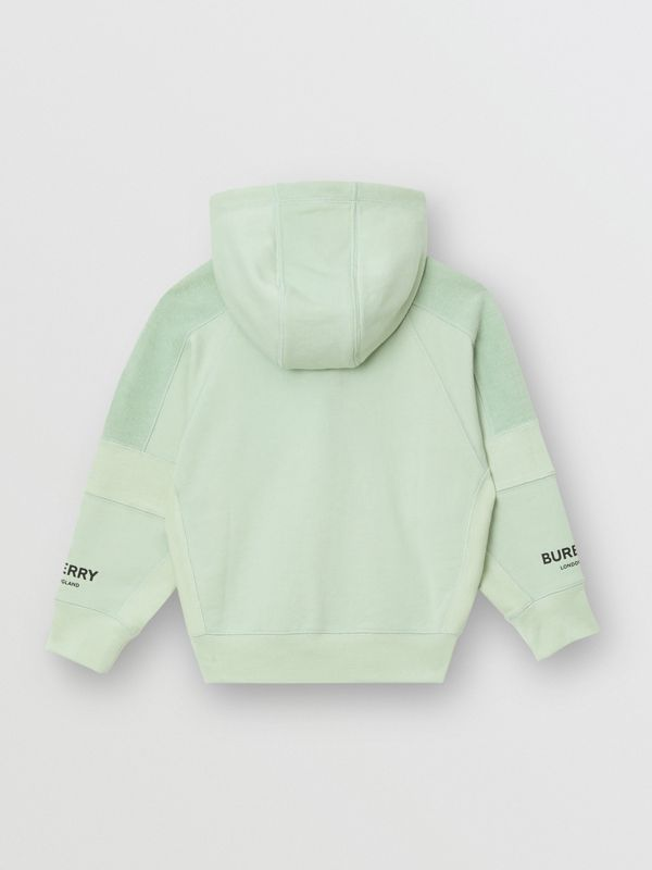 Logo Print Cotton Hooded Top in Pale Mint | Burberry - cell image 3