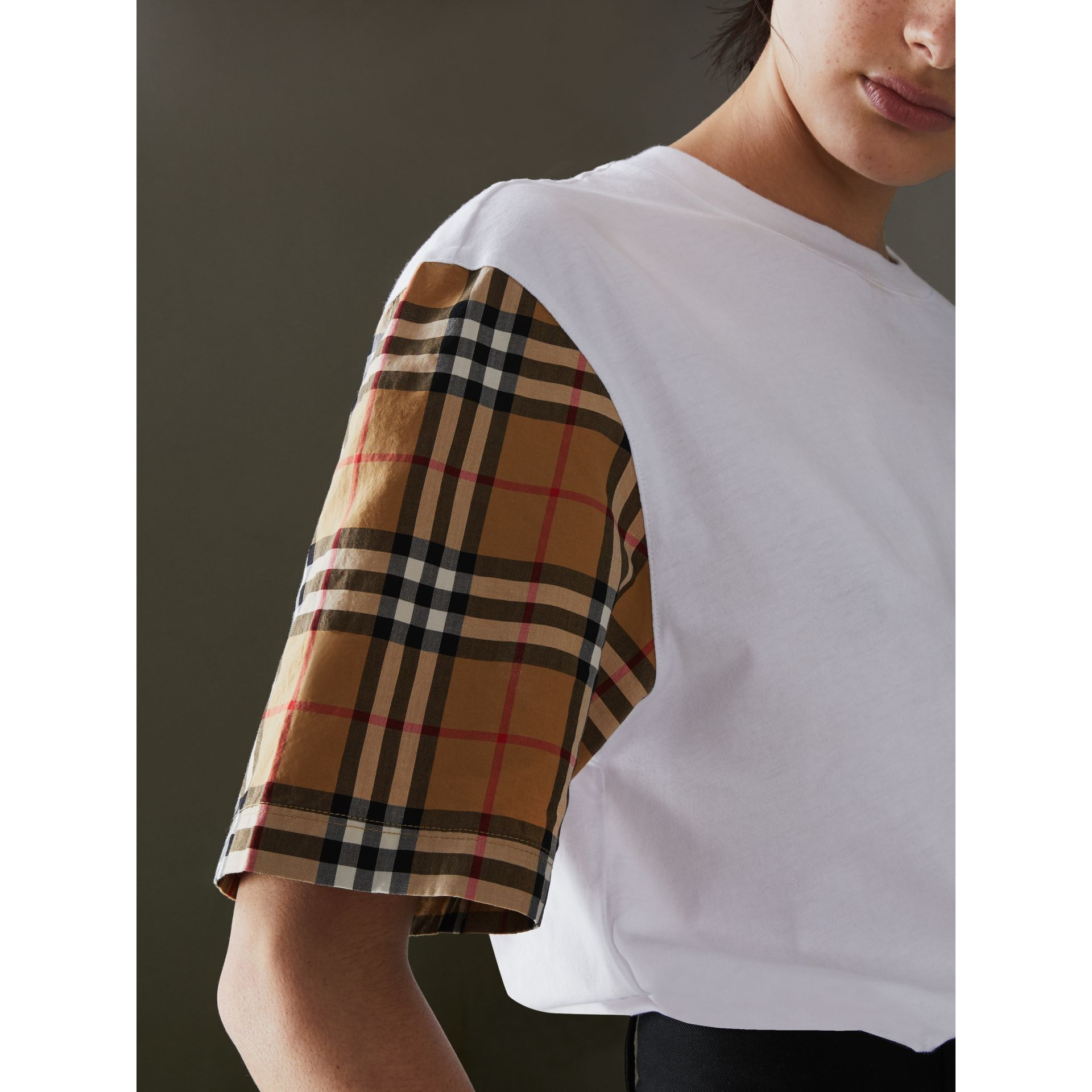 Vintage Check Sleeve Cotton T-shirt in White - Women | Burberry United Kingdom - gallery image 1