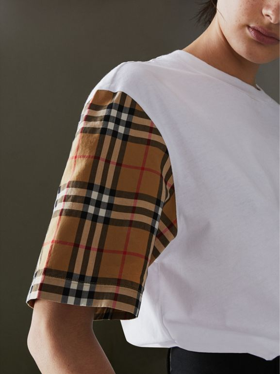 Vintage Check Sleeve Cotton T-shirt in White - Women | Burberry United Kingdom - cell image 1