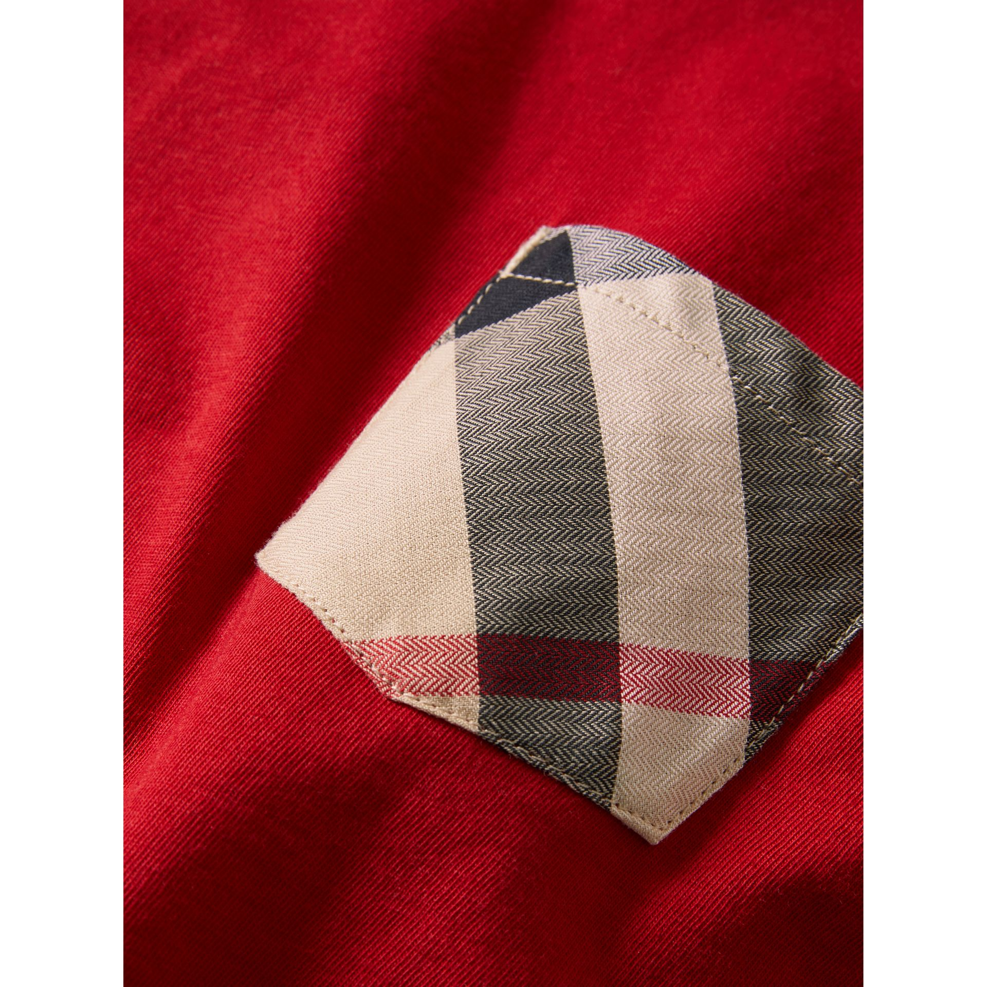 Check Pocket Cotton T-shirt in Military Red - Boy | Burberry United States - gallery image 1