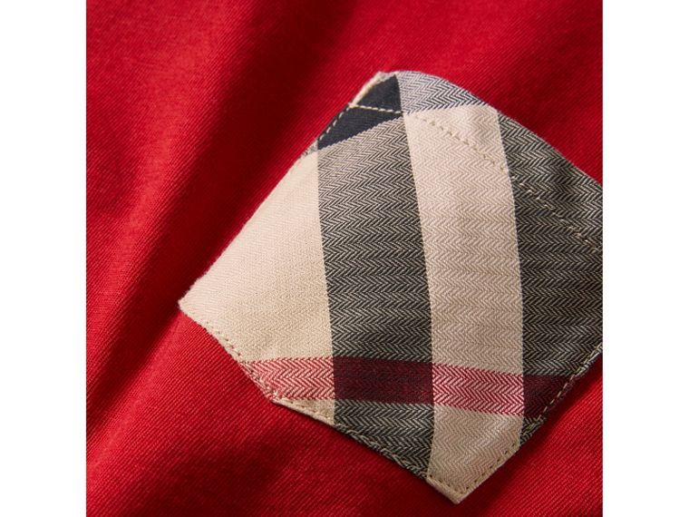 Check Pocket Cotton T-shirt in Military Red - Boy | Burberry United States - cell image 1