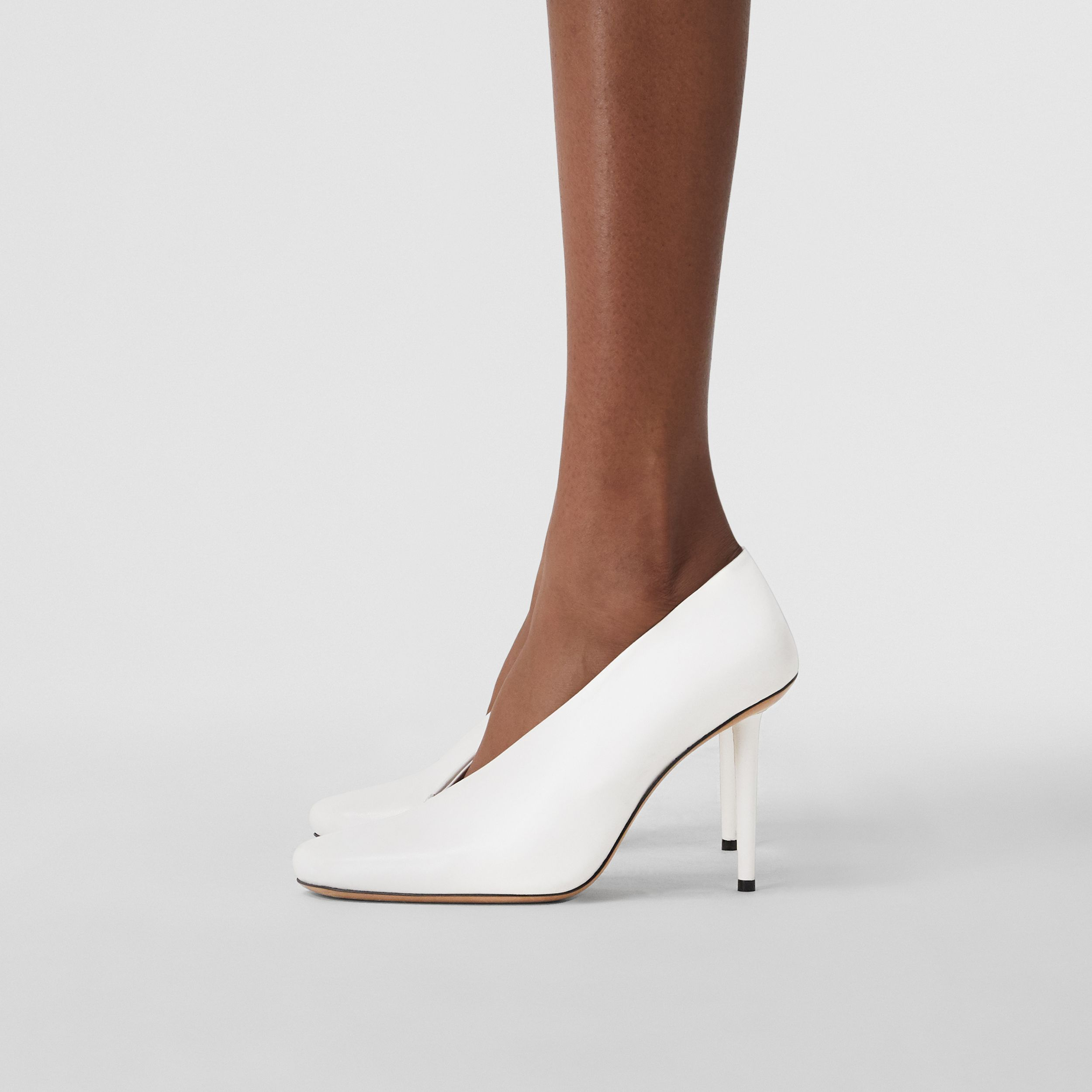 Lambskin Sculptural Pumps in Optic White - Women | Burberry - 2