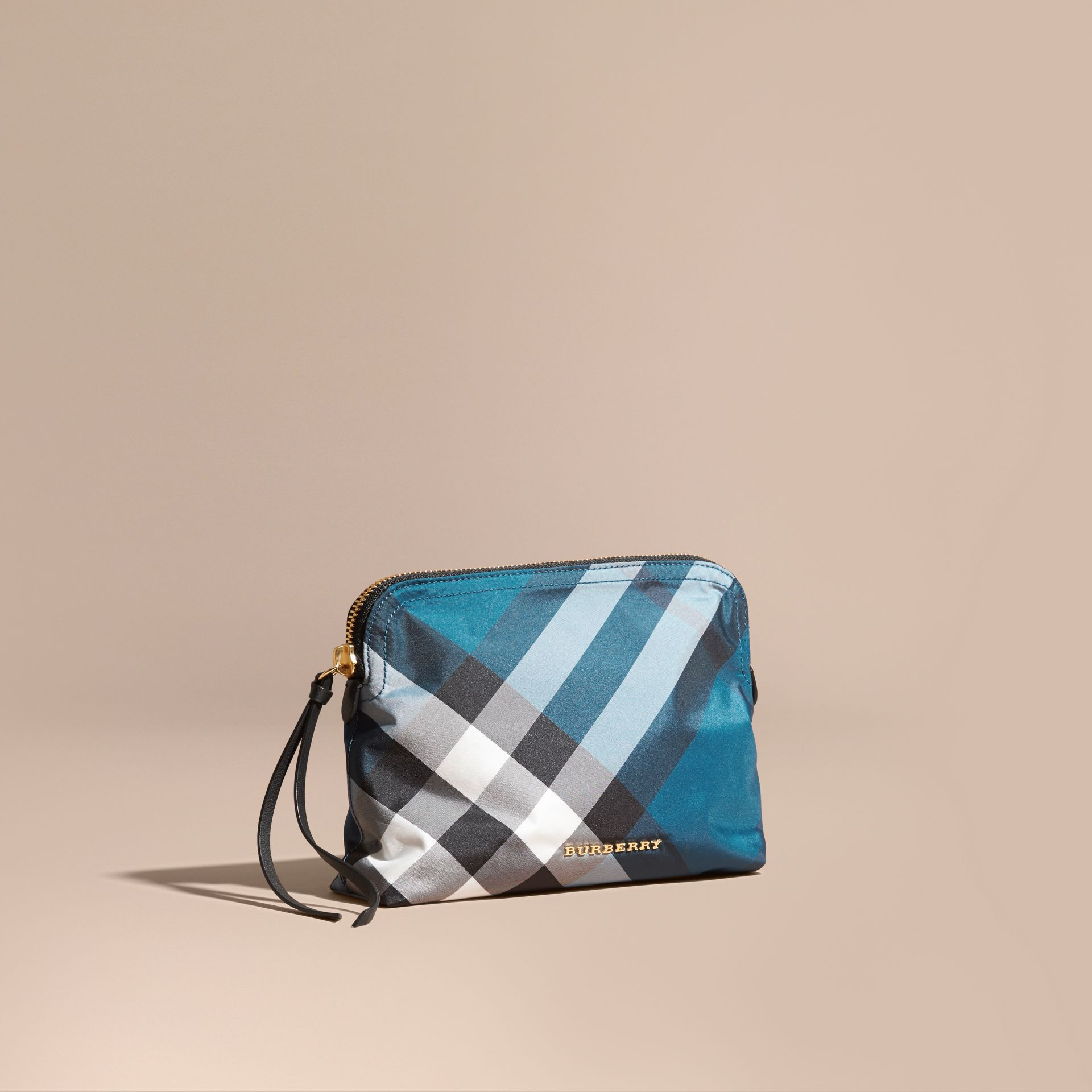 Large Zip-top Check Pouch in Marine Blue - Women | Burberry Australia - gallery image 1