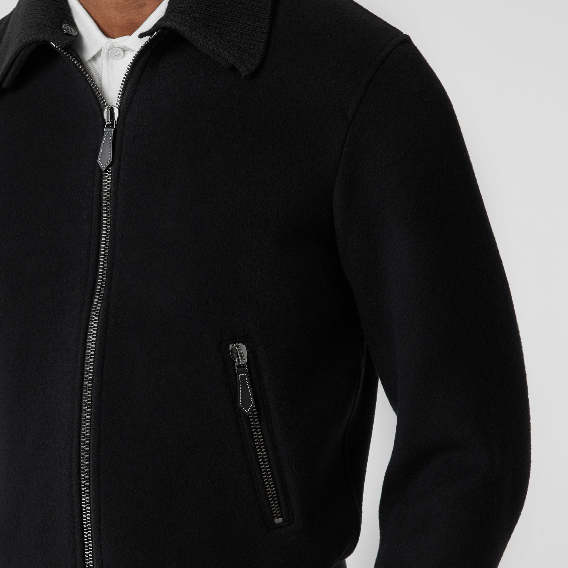 Detachable Knit Collar Wool Cashmere Bomber Jacket in Black - Men | Burberry - gallery image 4