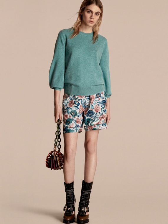 Puff-sleeved Cashmere Sweater Dusty Teal