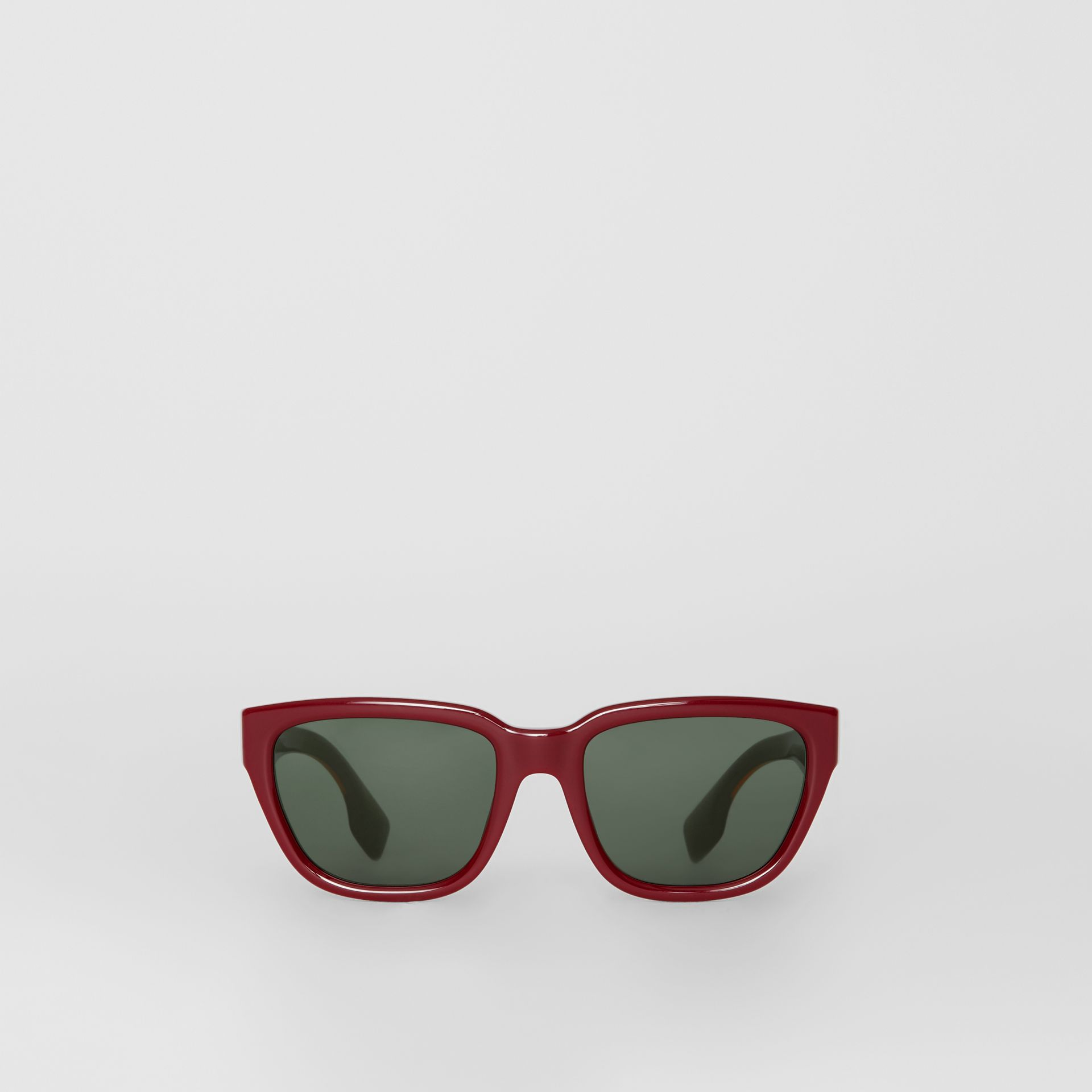 Square Frame Sunglasses in Burgundy - Women | Burberry Australia - gallery image 0