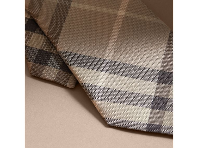 Modern Cut Check Silk Tie in Stone - cell image 1