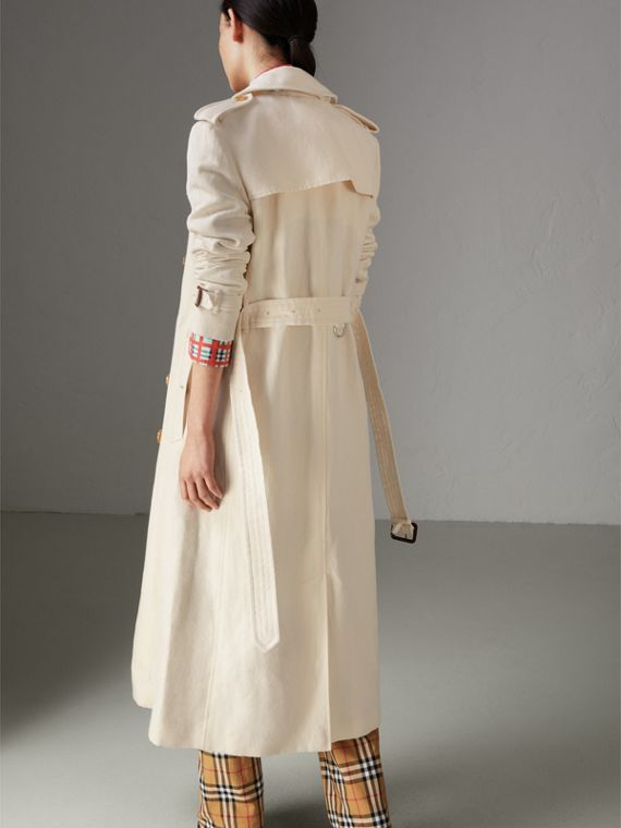 Cotton Linen Canvas Trench Coat in Off White - Women | Burberry - cell image 2