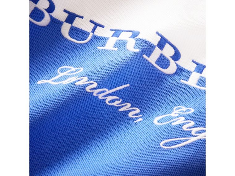 Embroidered Two-tone Cotton Piqué Polo Shirt in Cobalt Blue - Boy | Burberry - cell image 1