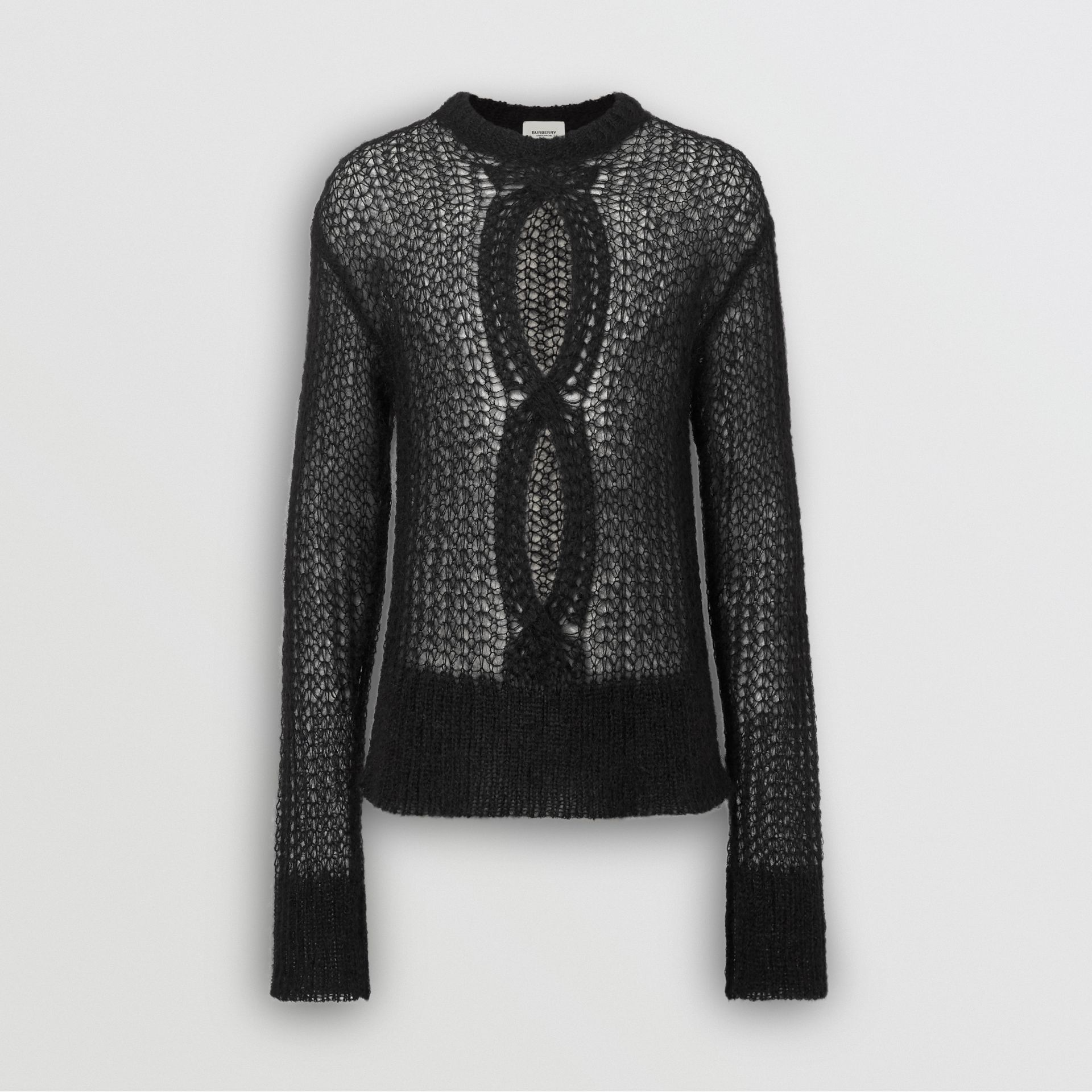 Open Knit Mohair Wool Blend Sweater in Black - Men | Burberry United Kingdom - gallery image 3