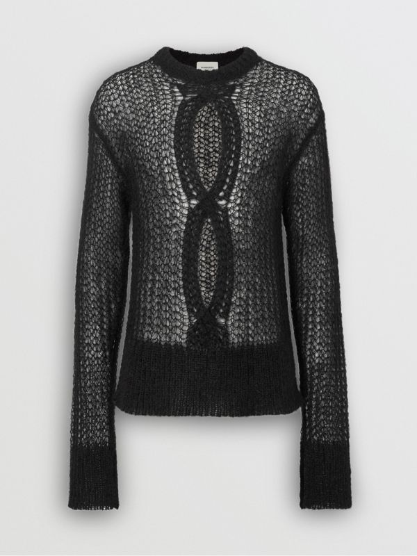 Open Knit Mohair Wool Blend Sweater in Black - Men | Burberry Australia - cell image 3