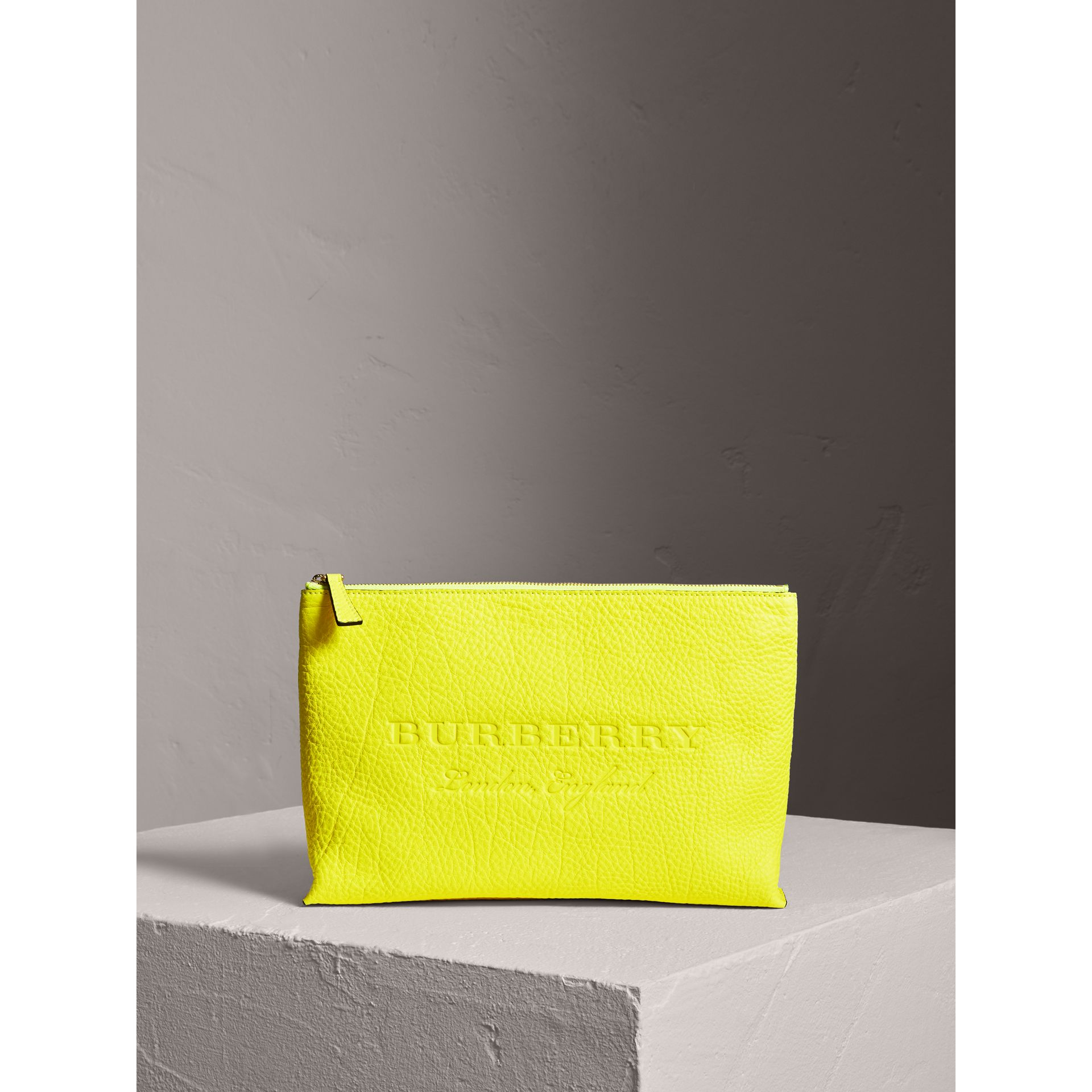Large Embossed Leather Zip Pouch in Bright Yellow | Burberry - gallery image 0