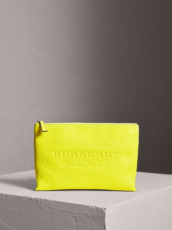 Large Embossed Leather Zip Pouch in Bright Yellow