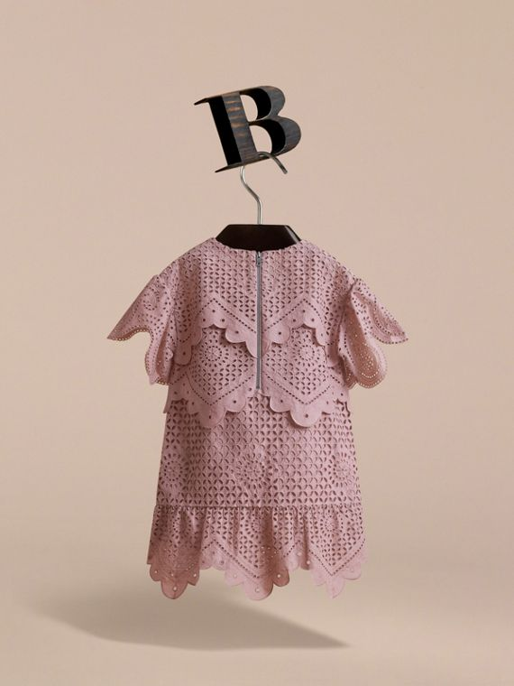 Layered Broderie Anglaise Cotton Dress in Dusty Pink | Burberry - cell image 3