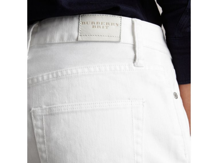 Pantaloncini in denim giapponese a vita bassa - Donna | Burberry - cell image 1